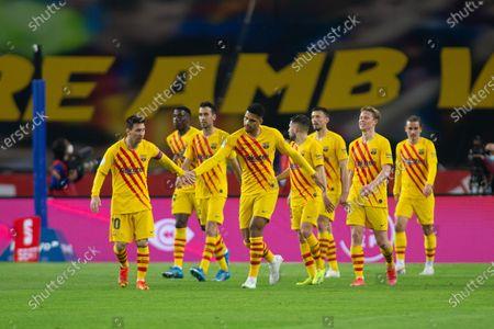 Celebrate score of Antoine Griezmann of Barcelona during Copa Del Rey Final match between Athletic Club and Futbol Club Barcelona at Estadio de La Cartuja on April 17, 2021 in Seville, Spain.