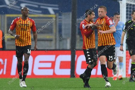 Kamil Glik of Benevento celebrate after score the goal during the Italian Serie A soccer match SS Lazio v Benevento Calcio in the Olympic stadium