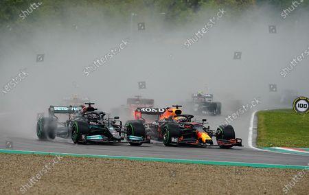 Rennstart:  Lewis Hamilton (GBR#44), Mercedes-AMG Petronas Formula One Team, Max Verstappen (NEL#33), Red Bull Racing Honda, Sergio Perez (MEX#11), Red Bull Racing Honda, Charles Leclerc (MCO#16), Scuderia Ferrari Mission Winnow