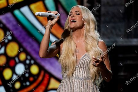 Stock Picture of Carrie Underwood performs at the 56th annual Academy of Country Music Awards, at the Grand Ole Opry in Nashville, Tenn. The awards show airs on April 18 with both live and prerecorded segments