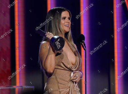 Maren Morris accepts the award for female artist of the year at the 56th annual Academy of Country Music Awards, at the Grand Ole Opry in Nashville, Tenn