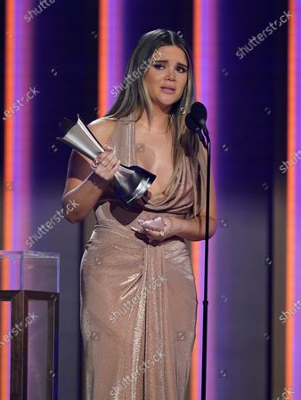 """Maren Morris accepts the award for song of the year for """"The Bones"""" at the 56th annual Academy of Country Music Awards, at the Grand Ole Opry in Nashville, Tenn"""