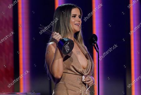 Stock Image of Maren Morris accepts the award for female artist of the year at the 56th annual Academy of Country Music Awards, at the Grand Ole Opry in Nashville, Tenn