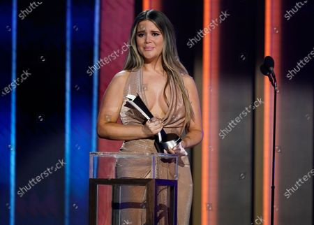 """Maren Morris reacts as she accepts the award for song of the year for """"The Bones"""" at the 56th annual Academy of Country Music Awards, at the Grand Ole Opry in Nashville, Tenn"""