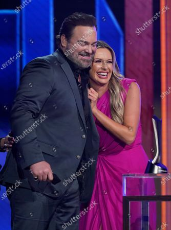 """Stock Picture of Lee Brice, left, and Carly Pearce accept the award for single of the year for """"I Hope You're Happy Now"""" at the 56th annual Academy of Country Music Awards, at the Grand Ole Opry in Nashville, Tenn"""