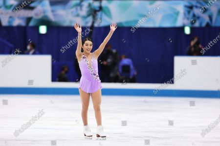 Stock Picture of Karen Chen (USA) - Figure Skating :  ISU World Team Trophy in Figure Skating 2021  Women's Free Skating  at Maruzen Intec Arena Osaka, Osaka, Japan.