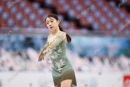 Stock Image of Rika Kihira (JPN) - Figure Skating :  ISU World Team Trophy in Figure Skating 2021  Women's Practice  at Maruzen Intec Arena Osaka, Osaka, Japan.