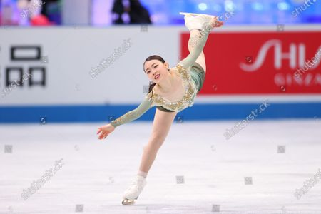 Stock Picture of Rika Kihira (JPN) - Figure Skating :  ISU World Team Trophy in Figure Skating 2021  Women's Free Skating  at Maruzen Intec Arena Osaka, Osaka, Japan.