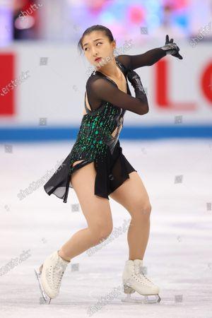 Stock Image of Kaori Sakamoto (JPN) - Figure Skating :  ISU World Team Trophy in Figure Skating 2021  Women's Free Skating  at Maruzen Intec Arena Osaka, Osaka, Japan.