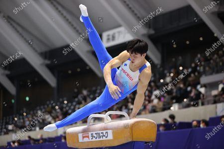 Stock Image of Koki Maeda - Artistic Gymnastics : The 75th All Japan Artistic Gymnastics Individual All-Around Championship Men's Pommel horse preliminary  at Takasaki Arena, Gunma, Japan.