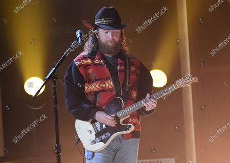 Stock Image of John Osborne, of Brothers Osborne, performs at the 56th annual Academy of Country Music Awards, at the Ryman Auditorium in Nashville, Tenn