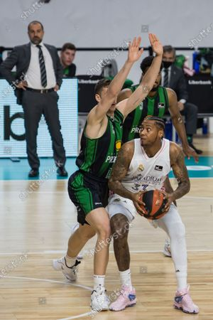 Stock Image of Trey Thompkins (white) during Real Madrid victory over Club Joventut Badalona (101 - 92)  in Liga Endesa regular season game (day 32) celebrated in Madrid (Spain) at Wizink Center. April 18th 2021.
