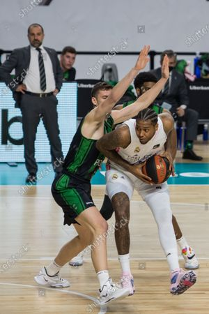 Trey Thompkins (white) during Real Madrid victory over Club Joventut Badalona (101 - 92)  in Liga Endesa regular season game (day 32) celebrated in Madrid (Spain) at Wizink Center. April 18th 2021.