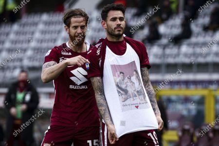 Torino forward Antonio Sanabria (19) celebrates with Torino defender Cristian Ansaldi (15) after scoring his goal to make it 1-1 during the Serie A football match n.31 TORINO - ROMA on April 18, 2021 at the Stadio Olimpico Grande Torino in Turin, Piedmont, Italy. Final result: Torino-Roma 3-1.