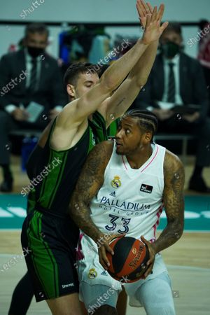 Stock Photo of Trey Thompkins   of Real Madrid during the Liga ACB match between Real Madrid and Club Joventut de Badalona at Wizink Center on April 18, 2021 in Madrid, Spain