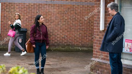 Coronation Street - Ep 10303 Monday 19th April 2021 - 1st Ep Emma Brooker, as played by Alexandra Mardell, clocks Lucas, as played by Glen Wallace, flirting with Alina Pop, as played by Ruxandra Porojnicu, outside the salon and urges her to go for it.