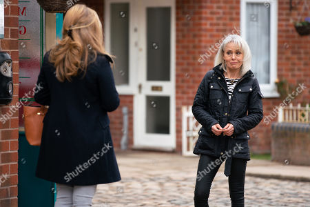 Stock Photo of Coronation Street - Ep 10314 Friday 30th April 2021 - 2nd Ep Sharon Bentley, as played by Tracie Bennett, lies to Jenny Connor, as played by Sally-Ann Matthews, making out she's mentoring one of the prisoners.