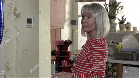 Stock Image of Coronation Street - Ep 10312 Wednesday 28th April 2021 - 2nd Ep Sarah Barlow returns home to find Sharon Bentley, as played by Tracie Bennett, and Sam Blakeman holding a birthday disco in the living room.