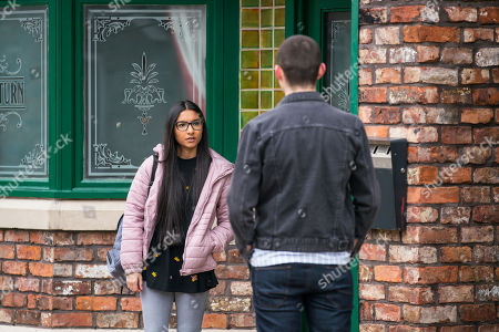 Coronation Street - Ep 10310 Monday 26th April 2021 - 2nd Ep When Corey Brent, as played by Maximus Evans, reveals that Dev had a word with his Dad and she's no longer welcome to stay, Asha Alahan's, as played by Tanisha Gorey, furious.