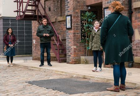 Coronation Street - Ep 10310 Monday 26th April 2021 - 2nd Ep As Tyrone Dobbs, as played by Alan Halsall, Alina Pop, as played by Ruxandra Porojnicu, Hope Stape, as played by Isabella Flanagan, and Ruby tumble out of Speed Daal in high spirits, Fiz Stape, as played by Jennie McAlpine, steams over and doing her best not to cry, drags the girls away.
