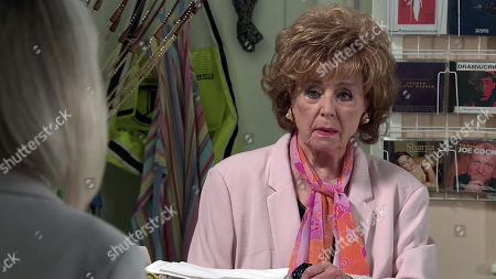 Coronation Street - Ep 10305 Wednesday 21st April 2021 - 1st Ep As Gemma and Rita Sullivan, as played by Barbara Knox, chat in the Kabin, they are interrupted by the arrival of Sharon Bentley, as played by Tracie Bennett. Rita's stunned.