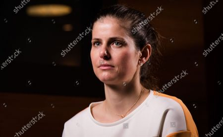 Julia Goerges of Germany during an interview at the 2021 Porsche Tennis Grand Prix WTA 500 tournament