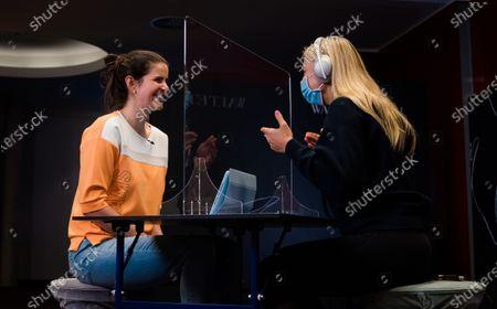Stock Photo of Julia Goerges of Germany & Anett Kontaveit of Estonia during a video shoot at the 2021 Porsche Tennis Grand Prix WTA 500 tournament