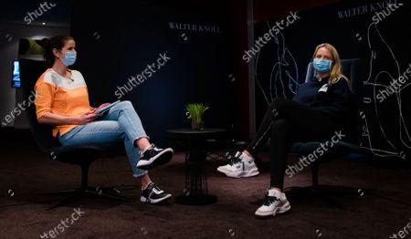Julia Goerges of Germany & Anett Kontaveit of Estonia during a video shoot at the 2021 Porsche Tennis Grand Prix WTA 500 tournament
