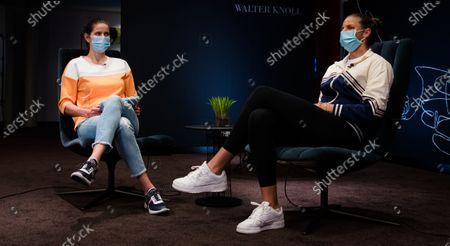Stock Picture of Julia Goerges of Germany & Karolina Pliskova of the Czech Republic ahead of the 2021 Porsche Tennis Grand Prix WTA 500 tournament