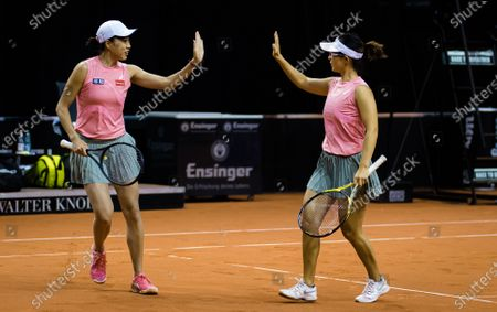 Yifan Xu & Shuai Zhang of China playing doubles at the 2021 Porsche Tennis Grand Prix WTA 500 tournament