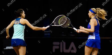 Stock Picture of Raluca Olaru of Romania & Nadiia Kichenok of Ukraine playing doubles at the 2021 Porsche Tennis Grand Prix WTA 500 tournament