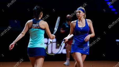 Raluca Olaru of Romania & Nadiia Kichenok of the Ukraine in action during the doubles semi-final of the 2021 Porsche Tennis Grand Prix WTA 500 tournament