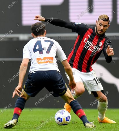(210419) - MILAN, April 19, 2021 (Xinhua) - AC Milan's Theo Hernandez (R) lives with Genoa's Milan Badelj during a Serie A football match between AC Milan and Genoa in Milan, Italy, April 18, 2021.
