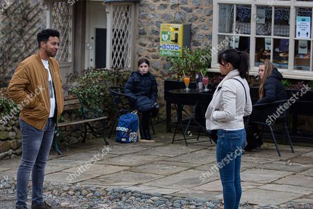 Emmerdale - Ep 9028 Thursday 22nd April 2021 - 1st Ep Ellis Grant, as played by Aaron Anthony, confronts Priya Sharma, as played by Fiona Wade, about the sweets, as Cathy, as played by Brielle Dowling, and April, as played by Amelia Flanagan, listen-in. Will there be a few red faces?