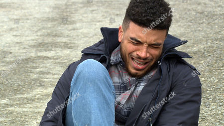 Emmerdale - Ep 9025 Monday 19th April 2021 As Nate Robinson, as played by Jurell Carter, tries to get David's attention, David accidentally runs over Nate's foot. Nate's in agony.
