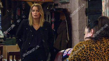 Emmerdale - Ep 9026 Tuesday 20th April 2021 Mandy Dingle, as played by Lisa Riley, goes cap-in-hand to newly flush Charity Dingle, as played by Emma Atkins, seeking a bailout for Paul's funeral, but Charity plays hardball and instead offers to buy the salon from her.