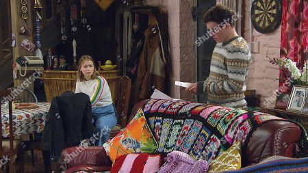 Emmerdale - Ep 9025 Monday 19th April 2021 Vinny Dingle, as played by Bradley Johnson, feels guilty about moving back in with Liv Flaherty, as played by Isobel Steele.