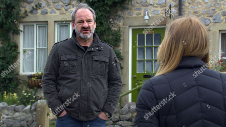 Emmerdale - Ep 9034 Thursday 29th April 2021 - 1st Ep Jimmy King, as played by Nick Miles, finds out what has been going on behind his back and fuming he confronts Charity Dingle, as played by Emma Atkins, who calmly tells him it's Nicola he needs to talk to.