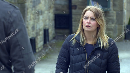 Stock Image of Emmerdale - Ep 9034 Thursday 29th April 2021 - 1st Ep Jimmy King, as played by Nick Miles finds out what has been going on behind his back and fuming he confronts Charity Dingle, as played by Emma Atkins, who calmly tells him it's Nicola he needs to talk to.