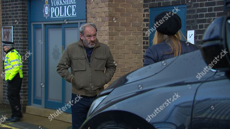 Emmerdale - Ep 9033 Wednesday 28th April 2021 Nicola King's, as played by Nicola Wheeler, in total shock when Jimmy King, as played by Nick Miles, returns and reveals he is being charged with death by dangerous driving.