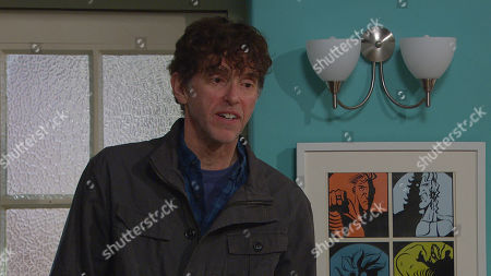 Emmerdale - Ep 9031 Monday 26th April 2021 Marlon Dingle, as played by Mark Charnock, tells Billy Fletcher and Ellis Grant he's doubling their rent and soon they are looking to move out.