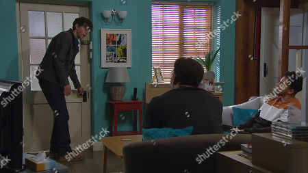 Emmerdale - Ep 9031 Monday 26th April 2021 Marlon Dingle, as played by Mark Charnock, tells Billy Fletcher, as played by Jay Kontzle, and Ellis Grant, as played by Aaron Anthony, he's doubling their rent and soon they are looking to move out.