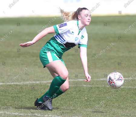 Sarah Saunders of Chichester and Selsey Ladies FC  during  The Vitality Women's FA Cup Fourth Round Proper match between West Ham United Women and Chichester & Selsey Ladies FC  at The Chigwell Construction Stadium  on 18th April, 2021 in Dagenham, England