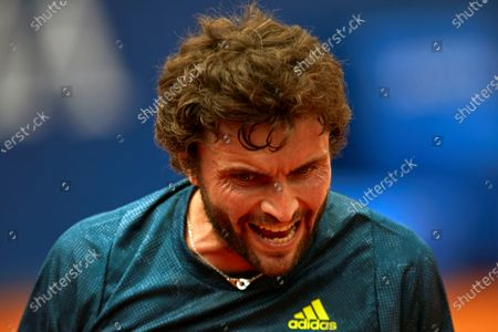 French tennis player Gilles Simon celebrates a point against Spanish Pablo Andujar during the first round match of the Barcelona Open Banc Sabadell Conde Godo Tennis tournament, an ATP World Tour 500 category, played at Tennis Royal Court of Barcelona, Spain, 19 April 2021.