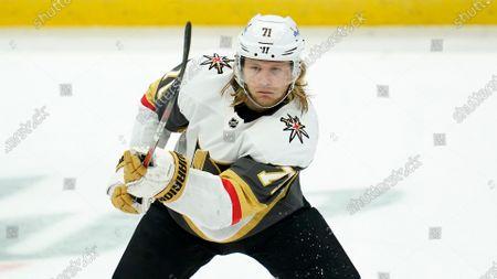 Vegas Golden Knights center William Karlsson (71) passes the puck during an NHL hockey game against the Anaheim Ducks, in Anaheim, Calif