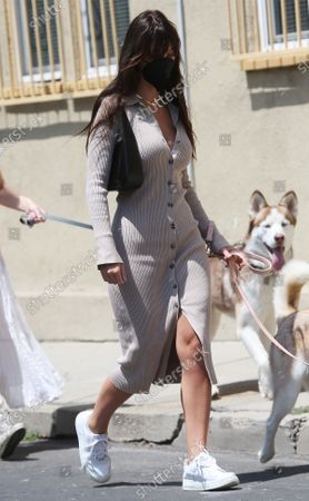 Stock Picture of Camila Morrone walking her dogs with her mother