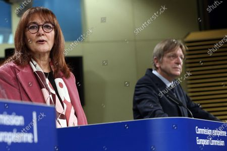 Vice-President of the European Commission for Democracy and Demography Dubravka Suica (L) and member of the European Parliament Guy Verhofstadt (R) speaks to the press during the opening remarks by the Co-Chairs of the Conference on the Future of Europe Executive Board in  Brussels, Belgium,19 April 2021. The three Co-Chairs of the Executive Board of the Conference on the Future of Europe will hold a joint press conference to present the Conference's new digital platform, a central hub where all contributions to the Conference will be brought together and shared, including decentralised events, the European Citizens' Panels and Conference Plenaries.