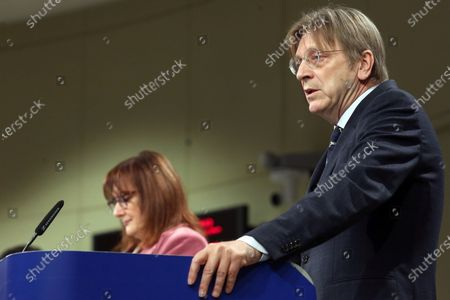 Member of the European Parliament Guy Verhofstadt speaks to the press during the opening remarks by the Co-Chairs of the Conference on the Future of Europe Executive Board in  Brussels, Belgium,19 April 2021. The three Co-Chairs of the Executive Board of the Conference on the Future of Europe will hold a joint press conference to present the Conference's new digital platform, a central hub where all contributions to the Conference will be brought together and shared, including decentralised events, the European Citizens' Panels and Conference Plenaries.