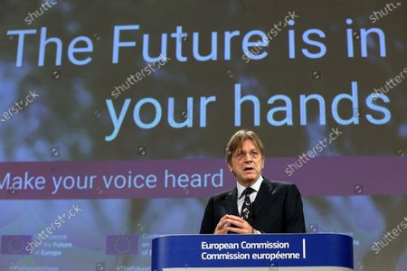 Member of the European Parliament Guy Verhofstadt speaks to the press during the opening remarks by the Co-Chairs of the Conference on the Future of Europe Executive Board in  Brussels, Belgium,19 April 2021. The three Co-Chairs of the Executive Board of the Conference on the Future of Europe will held a joint press conference to present the Conference's new digital platform, a central hub where all contributions to the Conference will be brought together and shared, including decentralised events, the European Citizens' Panels and Conference Plenaries.