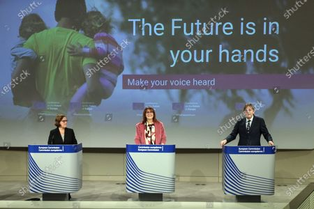 President of the European Commission for Democracy and Demography Portuguese Ana Paula Zacaria (L),  Vice-President of the European Commission for Democracy and Demography Dubravka Suica (C), and member of the European Parliament Guy Verhofstadt address the press during the opening remarks by the Co-Chairs of the Conference on the Future of Europe Executive Board in Brussels, Belgium, 19 April 2021. The three Co-Chairs of the Executive Board of the Conference on the Future of Europe will held a joint press conference to present the Conference's new digital platform, a central hub where all contributions to the Conference will be brought together and shared, including decentralised events, the European Citizens' Panels and Conference Plenaries.